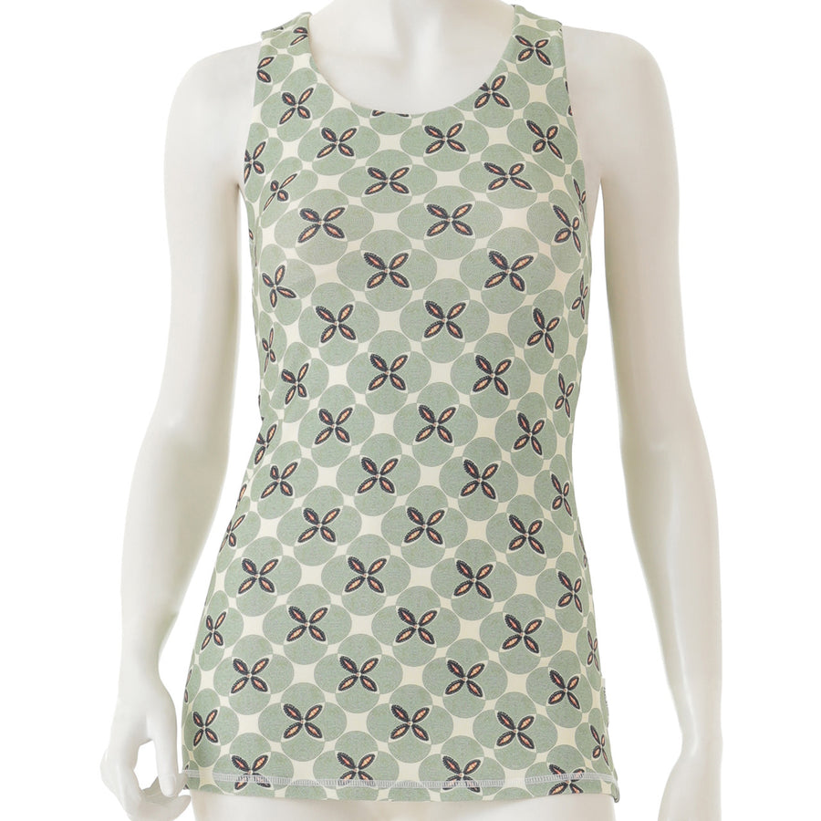 Peach Patterned Long Tank - Light Green - bodyartwebstore