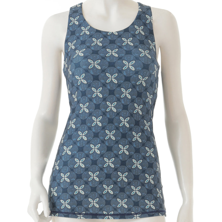 Peach Patterned Long Tank - Navy - bodyartwebstore