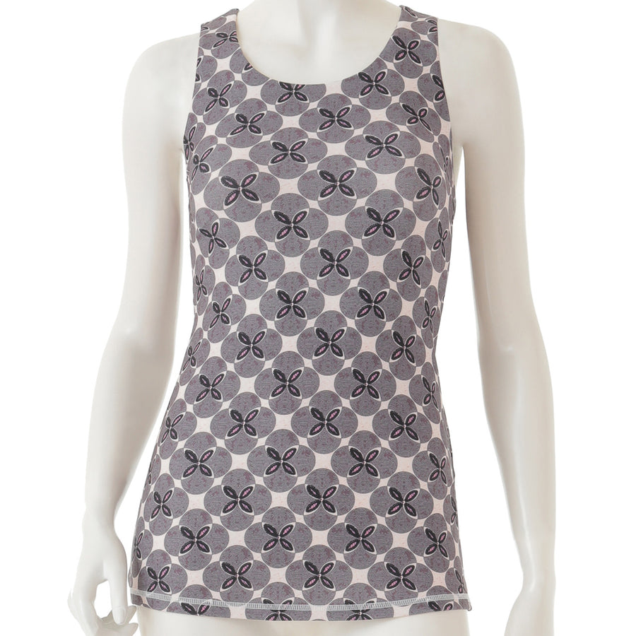 Peach Patterned Long Tank - Pink - bodyartwebstore