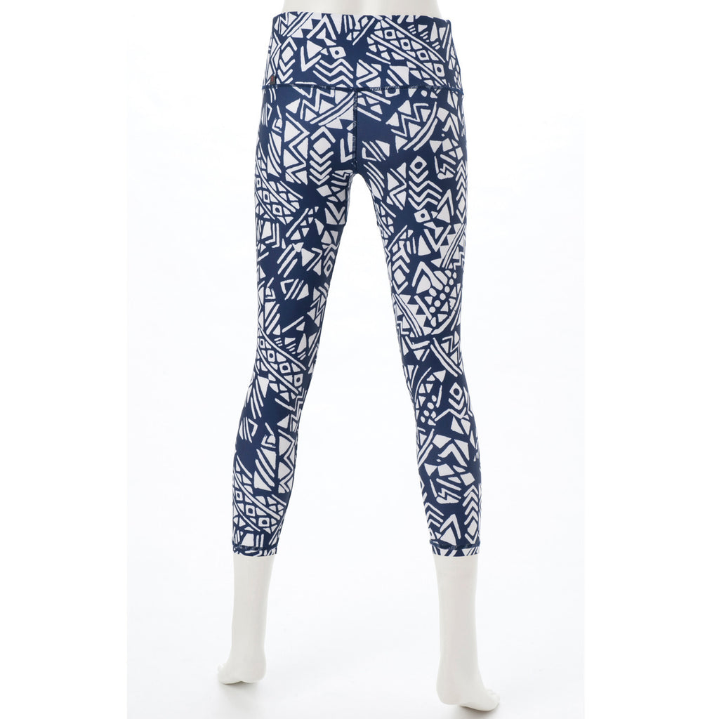 Pullush - Printed Cropped Leggings - White+Navy - bodyartwebstore