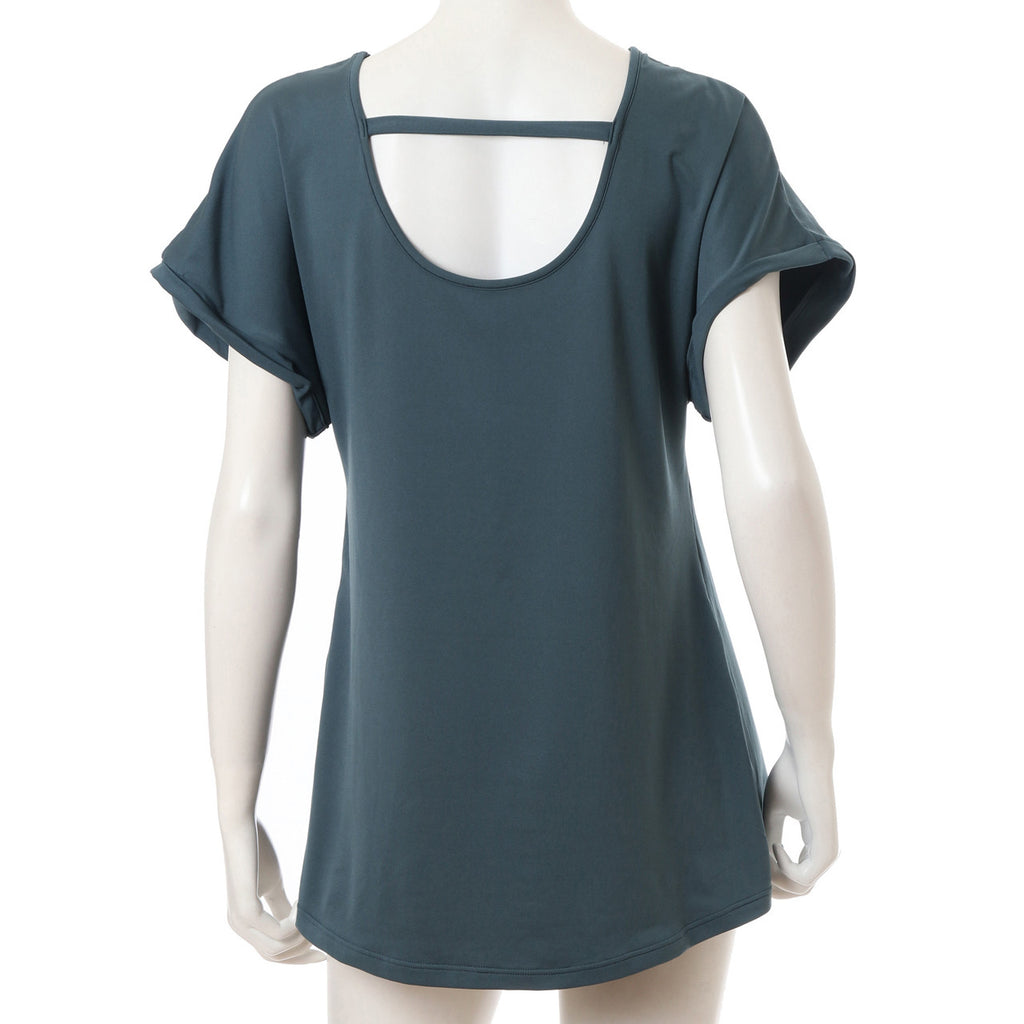 Air Mousse Off Shoulder Tee - Forest Green - bodyartwebstore