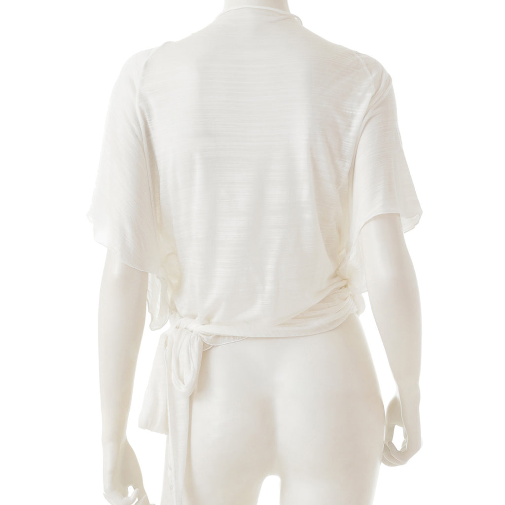 Sheer Jersey Faux-Wrap Top - White - bodyartwebstore