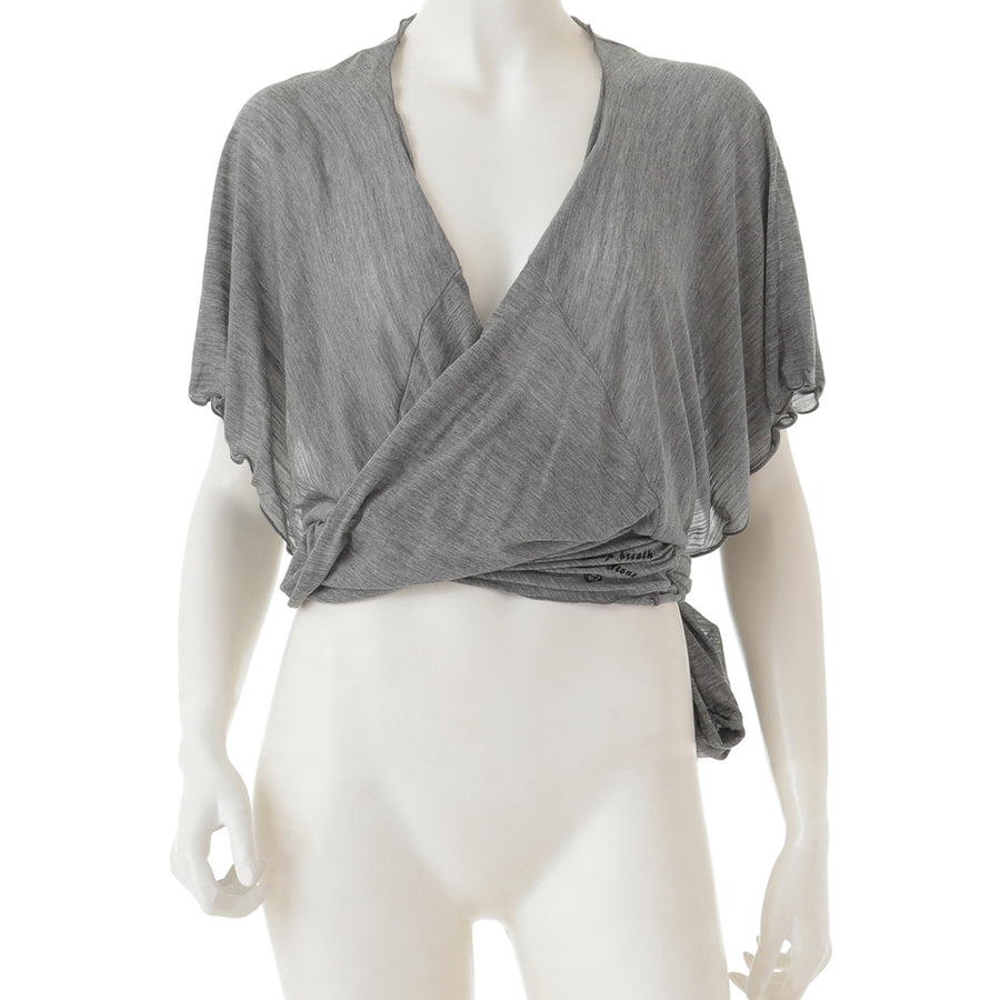 Sheer Jersey Tank Faux-Wrap Top - Grey - bodyartwebstore