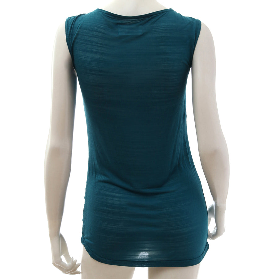 Sheer Jersey Tank Top - Blue Green