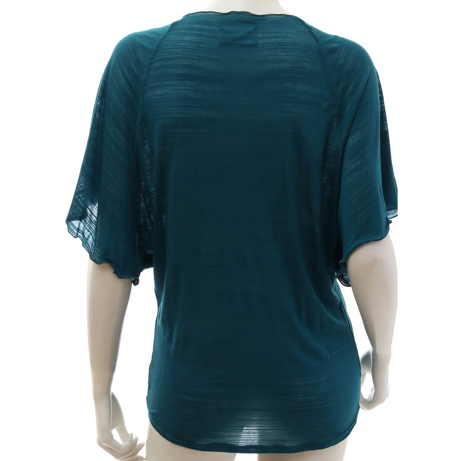 Sheer Jersey Shirring T-shirt - Blue Green