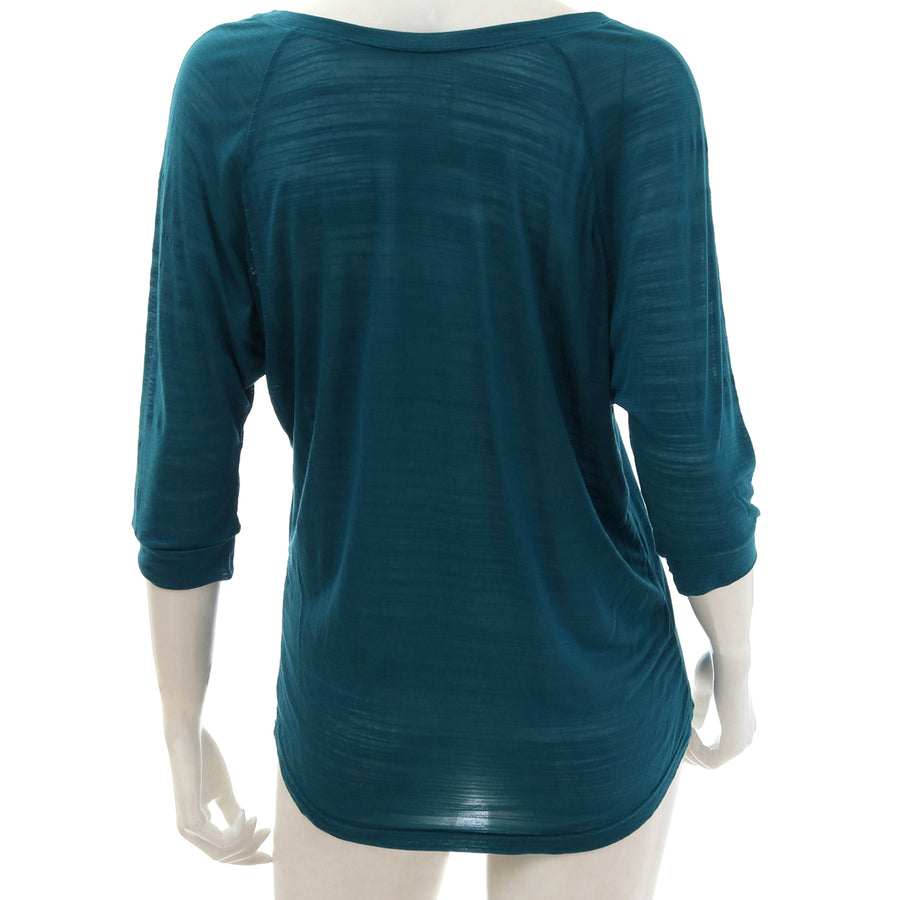 Sheer Jersey Cropped Sleeve T-shirt - Blue Green