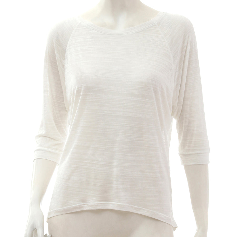 Sheer Jersey Cropped Sleeve T-shirt - White