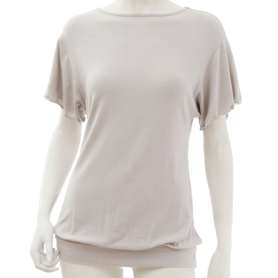 <NEW>Milky Veil Cropped Sleeve Top - Light Gray