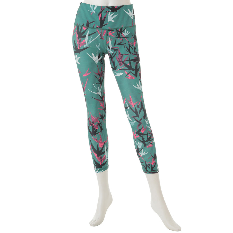 Swallow Patterned Cropped Leggings - Green - bodyartwebstore