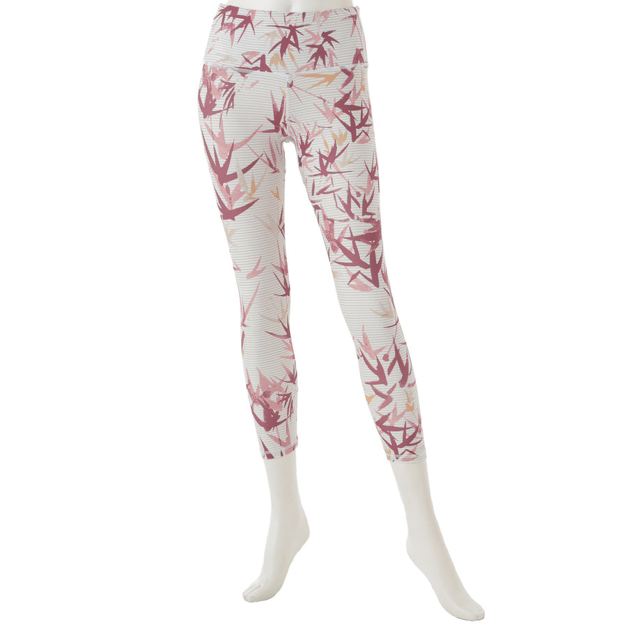 Swallow Patterned Cropped Leggings - White - bodyartwebstore