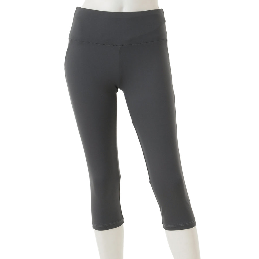 Stretch Mesh Capri Leggings - Dark Grey - bodyartwebstore