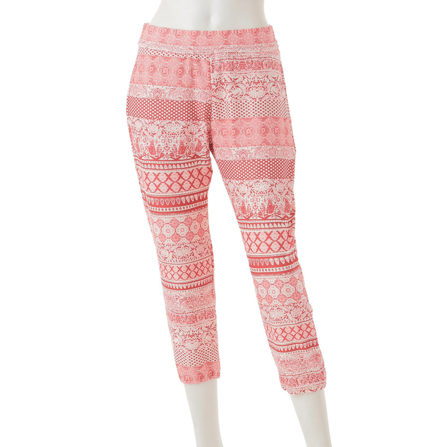 Ethnic Relac Yoga Pants - Red