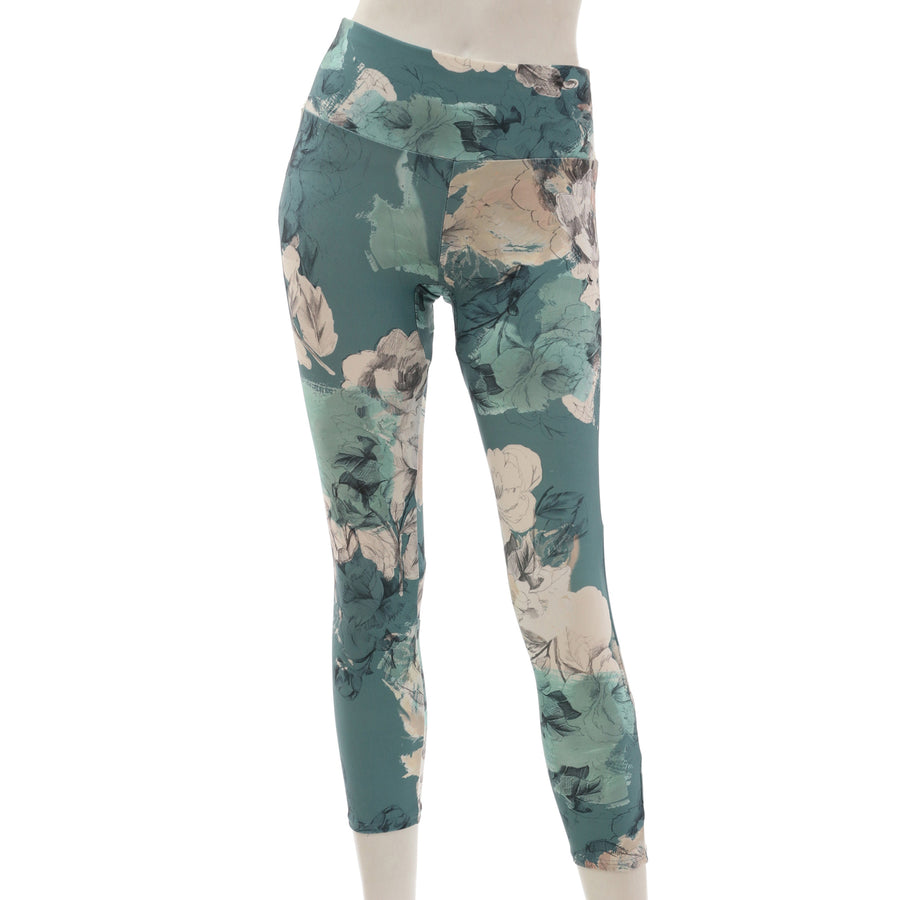 <NEW>Primeflex Cropped Leggings - Floral Green