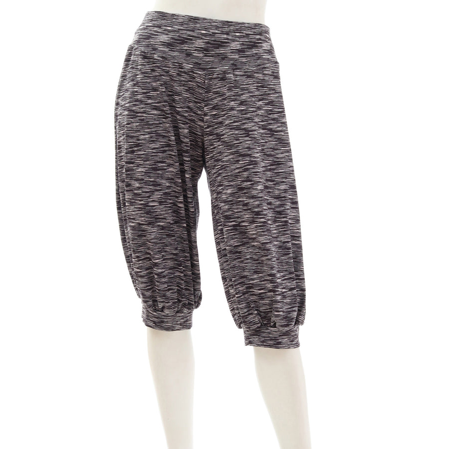 Mixed Color Stretch Capri Pants - Black