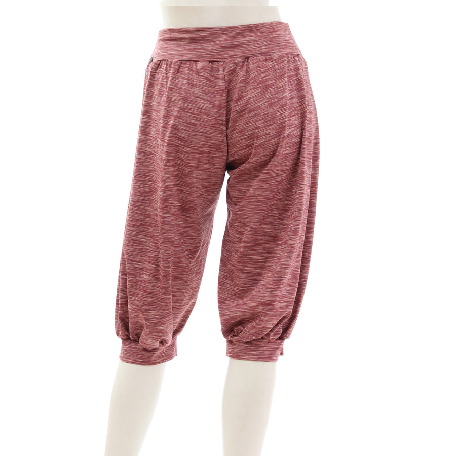 Mixed Color Stretch Capri Pants - Rose Pink