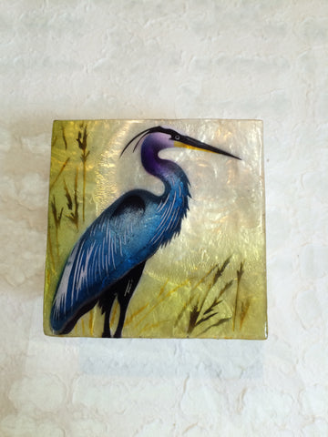 Small Capiz Shell Box - Blue Heron