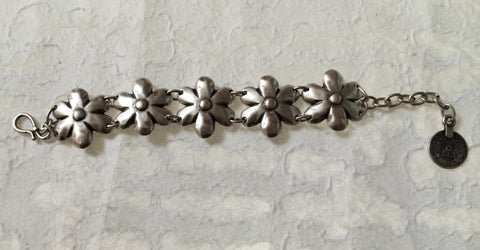 Bracelet - Daisy Flowers - Recycled Metal