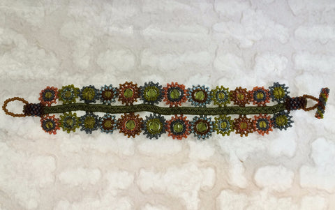 Bracelet - Glass Bead Geometric Flowers