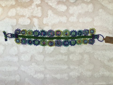 Bracelet - Glass Bead Geometric Flowers Blue, Green, & Purple