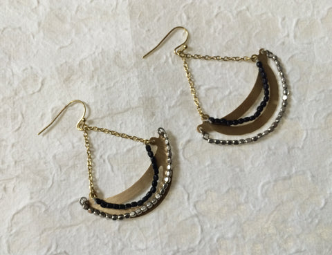 Earrings - Gold with Glass Beads