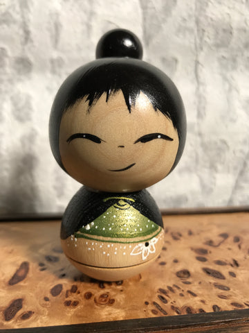 Kokeshi Doll - Green Shirt