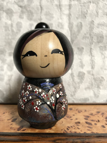 Kokeshi Doll - White Flowers