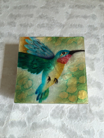 Small Capiz Shell Box - Blue Hummingbird on Green