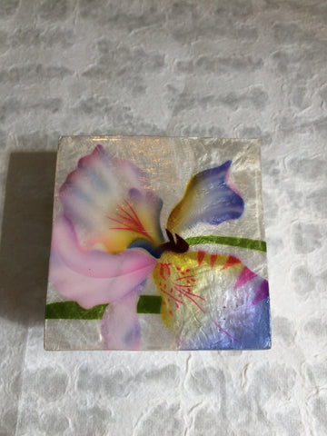 Small Capiz Shell Box - Pink & Purple Orchid