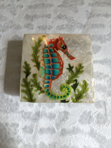 Small Capiz Shell Box - Blue & Pink Seahorse