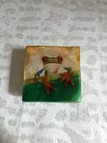 Small Capiz Shell Box - Tree Frog on a Leaf