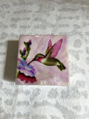 Small Capiz Shell Box - Pink & Green Hummingbird
