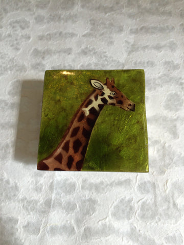 Small Capiz Shell Box - Giraffe on Green Background