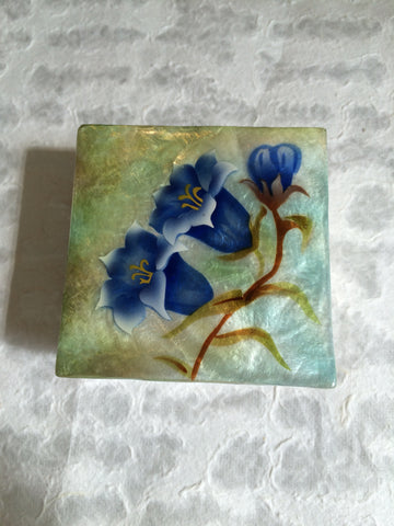 Small Capiz Shell Box - Blue Bell Flowers