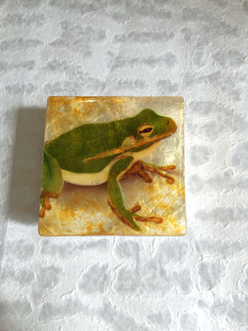 Small Capiz Shell Box - Frog on Golden Background