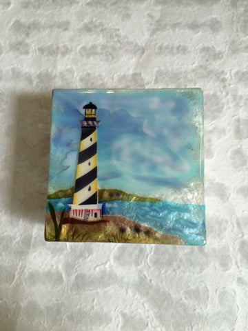 Small Capiz Shell Box - Blue & White Lighthouse