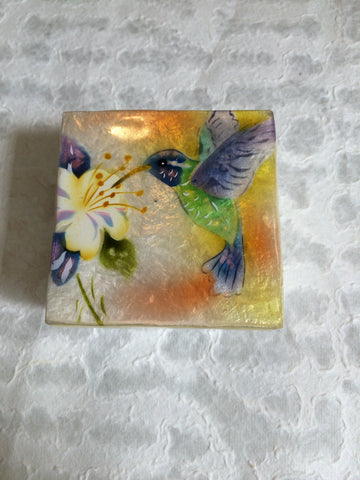 Small Capiz Shell Box - Purple & Green Hummingbird