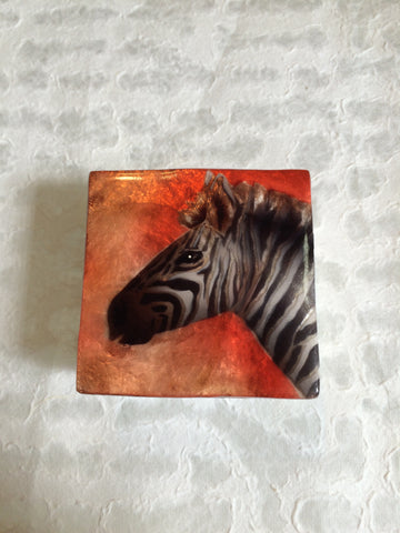 Small Capiz Shell Box - Zebra on Red