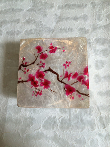 Small Capiz Shell Box - Cherry Blossoms