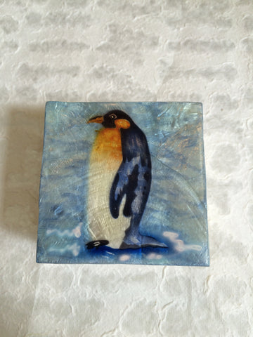 Small Capiz Shell Box - Penguin on Blue