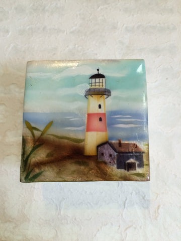 Small Capiz Shell Box - Red & White Lighthouse
