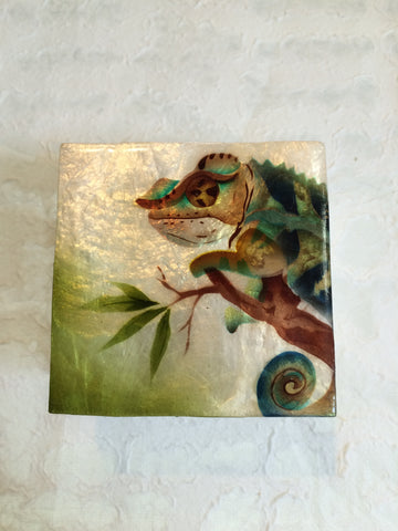 Small Capiz Shell Box - Green Chameleon