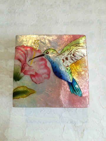Small Capiz Shell Box - Blue & Green Hummingbird