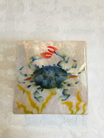 Small Capiz Shell Box - Blue Crab in Seaweed