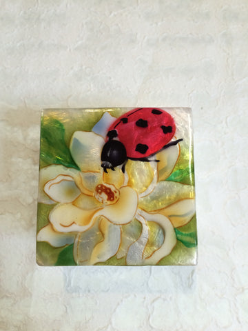 Small Capiz Shell Box - Ladybug on a Lily