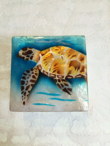 Small Capiz Shell Box - Swimming Sea Turtle
