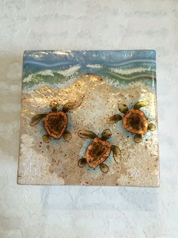 Small Capiz Shell Box - Baby Sea Turtles