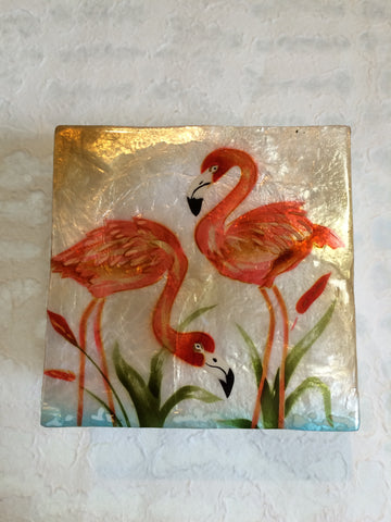 Small Capiz Shell Box - Pink Flamingos in the Sun
