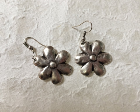 Earrings - Aluminum Daisy Flowers - Recycled Metal