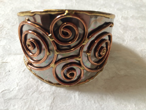 Bracelet - Metal Cuff with Spirals