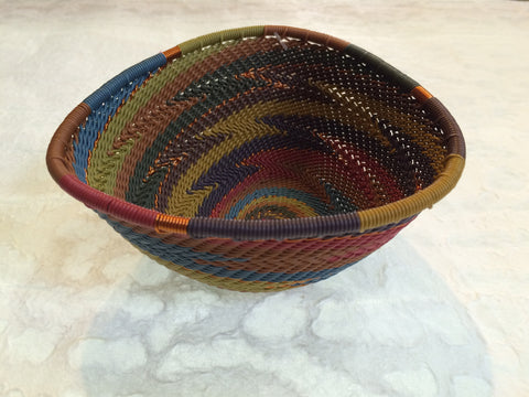Telephone Wire Basket - Small, Triangular, Earthy Rainbow Bowl